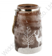Brown Frosted Glass Lantern With Christmas Reindeer Print XM2977